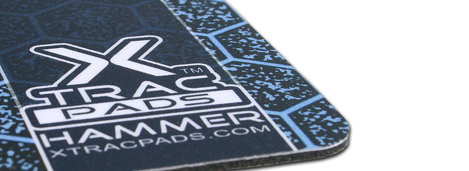 XTracGear Hammer plastic surface gamer mat. Super thin, XL sized and HiDef pattern designed to improve mouse cursor accuracy.